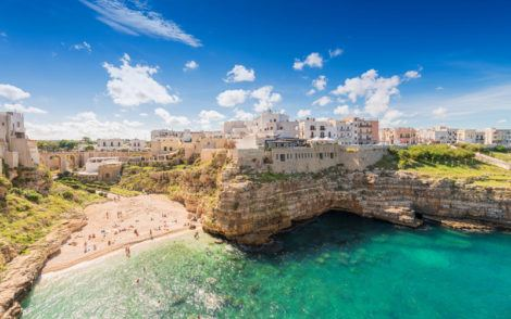 The enchanting beach of Polignano a Mare, Bari