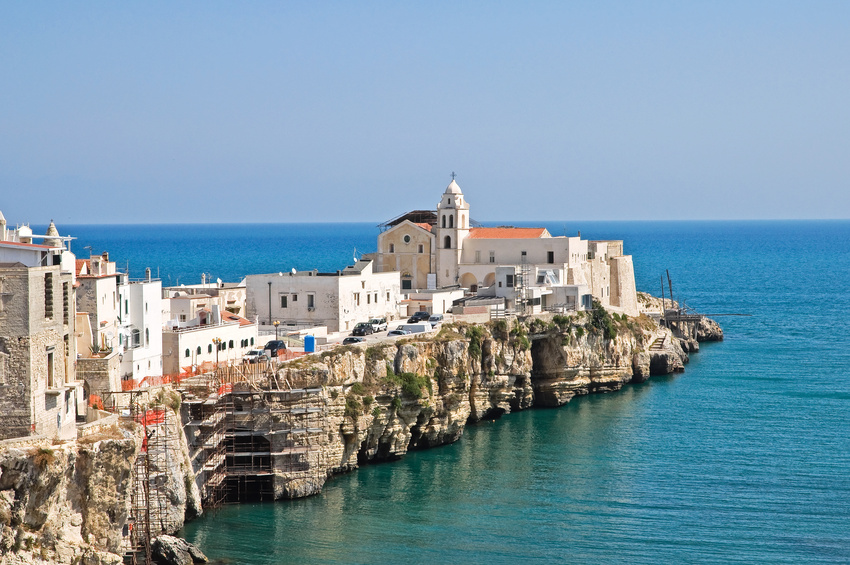 Featuring a panoramic view of Vieste. Puglia. Italy.