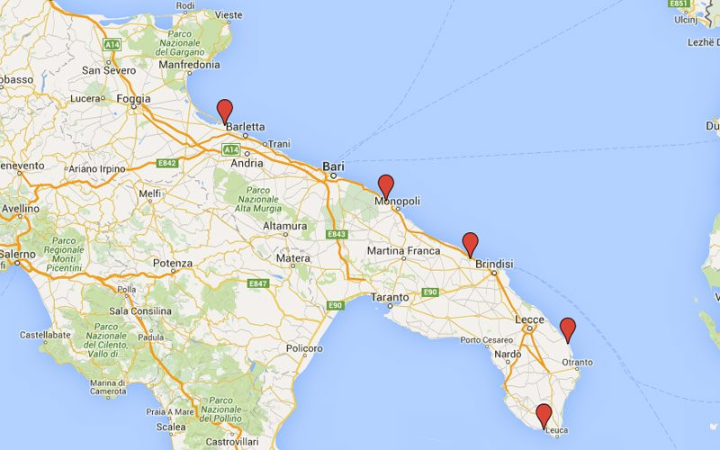 Puglia map with best beaches
