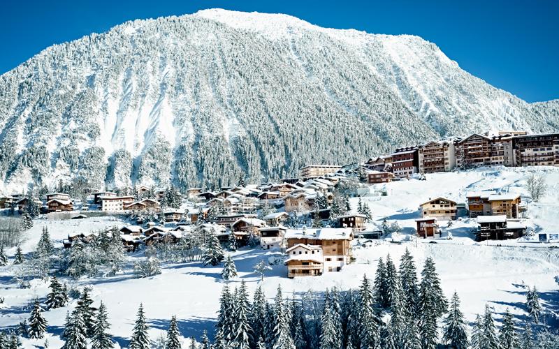 A ski resort in Courchevel in the French Alps, circa 1970